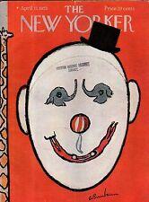 1953 New Yorker April 11 - Circus Clown Face - Birnbaum