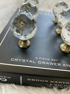 Badgley Mischka Round Crystal Drawer Knobs Pulls Set Of 6 Universal Fit-brass