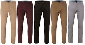 Mens Pants Cotton Straight Leg Regular Stretch Fit Stretch Chino Trousers