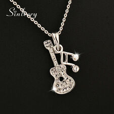 2016 New Musical Note Guitar Pendant Necklace Chain XL268 18K White Gold Plated
