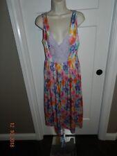 Long Hot Pink floral Adonna night gown, nylon, SZ small, nylon/spandex
