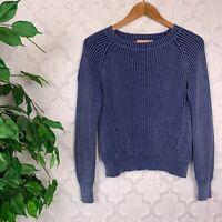 Philosophy Ribbed Blue Knit Crewneck Sweater Size XS