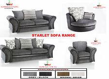 BRAND NEW STARLET 3 + 2 SOFA SET SUITE CUDDLE SWIVEL ARM CHAIR BLACK GREY BROWN