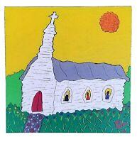 "John Sperry Southern Primitive Piece Colorful Folk Art Painting ""Church"""