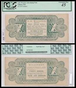 Clinton MA, Ad note, unlisted Advertising, Cloths? Won't see again PCGS 45