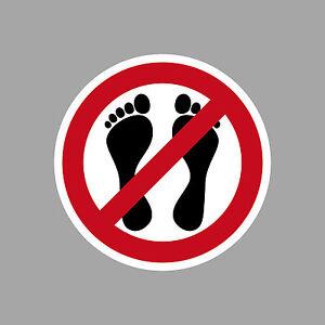 Aufkleber 4cm rund UV Fußverbot nicht mit Füßen betreten untersagt Verboten
