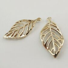 10PCS Newest Rose Golden Alloy Beauty Feather Pendant Jewelry Charm 37587