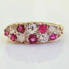 Stunning Antique Victorian 9ct Gold Ruby & Diamond (0.35cts) set Ring c1900