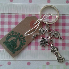 HAND MADE Knitting, Wool, Yarn' Knitting Needles Silver Plated KEYRING