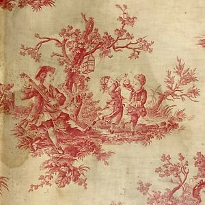 Lovely bucolic French toile fabric vintage farm scenes birds fabric material