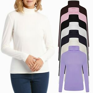 Womens Ladies Long Sleeve Roll Neck T Shirt High Polo Ribbed Knitted Jumper Tops