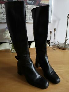 BALLY ROCCAPIA BLACK LEATHER SLIM LEG KNEE LENGTH BUCKLE TRIM BOOTS SIZE 37 UK 4