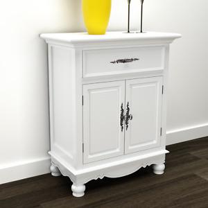 WHITE Cabinet Wooden Storage Unit Cupboard Drawer Doors Home Floor Standing