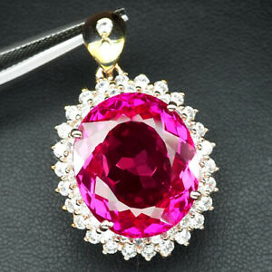 TOPAZ PINK RASPBERRY OVAL 30.80 CT.SAPP 925 STERLING SILVER ROSE GOLD PENDANT