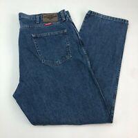 Wrangler Denim Jeans Mens 42X32 Blue Straight Leg Regular Fit Cotton Medium Wash