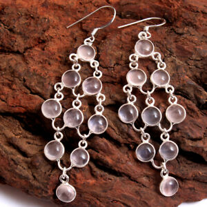 ROSE QUARTZ Gemstone Earring 925 Solid Sterling Silver HANDMADE Fine Jewelry