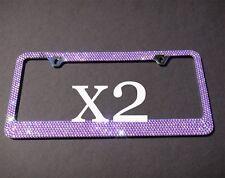 2 PCS 7 Rows PURPLE Bling Diamond Crystal Metal License Plate Frame+Caps
