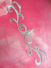 """GB324 Silver Scroll Metallic Applique Iron On Patch 5.5"""""""