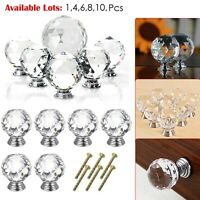 1-10pcs Clear Crystal Diamond Glass Door Knobs Cupboard Drawer Cabinet Handles