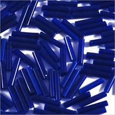 Perles de Rocailles Tubes en verre Opaque 9x2mm Bleu foncé 20g