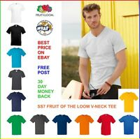 MENS V-NECK T-SHIRT Fruit of the Loom VALUEWEIGHT TEE: 100% Cotton: 13 COLOURS
