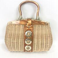 Vintage Wicker Rattan Purse Tortoise Lucite Handles Turnlock Closure 60s Handbag
