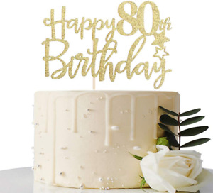 Gold Glitter Happy 80th Birthday Cake Topper,Hello 80, Cheers to 80 Years,80  F
