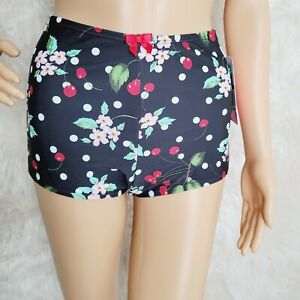 Betsey Johnson Cherry Bomb Shorts Bikini Bottoms-NWT