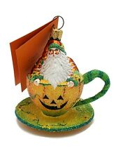 Patricia Breen Tea for Two Halloween Pumpkin Holiday Tree Ornament Tea Party Cup