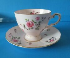 TUSCAN  CUP & SAUCER LIGHT PINK COLOR WITH SMALL PINK ROSES EXCELLENT CONDITION