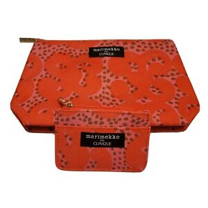 Clinique Marimekko Makeup Cosmetic Case & Matching Coin Card Case-Red/Pink