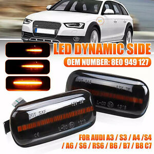 2x LED Dynamic Side Marker Turn Signal Light Sequential For Audi A3 S3 8P A4 S4