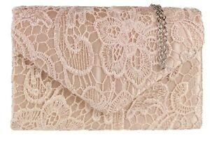 Womens Satin Lace Clutch Bag Evening Bridal Rose Gold Wedding Fashion Vintage
