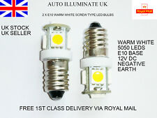 2 x E10 987 SMD 5050 5 LED MES SCREW LIGHT BULBS LAMP CAR DASHBOARD CLOCKS 12V