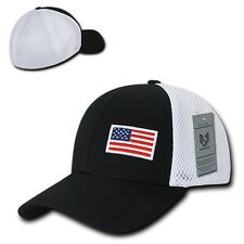 Black USA US American Flag Low Crown Structured Mesh Flex Baseball Fit Hat Cap