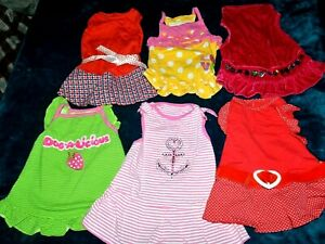 Lot of 6 size Medium dog dresses outfits