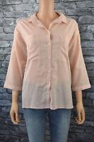 Women's Elegant Soft Peach Classic Tailored 3/4 Sleeve Blouse Top UK Size 12