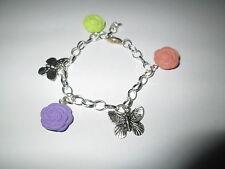 """Bracelet """"Fleurs et Papillons"""",en fimo et Métal,neuf."""