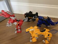 Mighty Morphin Power Rangers Blue Red Black Zord Vehicle 2010 TRex Triceratops