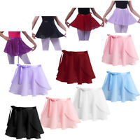 Kids Girl Chiffon Ballet Tutu Skirts Dance Wrap Scarf Gymnastics Dress Dancewear