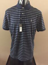 Polo Ralph Lauren Men's Cotton Pima Soft Polo - Medium - Navy, Gray striped