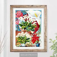 VINTAGE FLOWERS Art Print Poster Garden Gardening Painting Nature Plants Organic