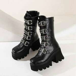 Sexy Buckle Women's Winter High Boots Leather Block Heel Gothic Platform Shoes