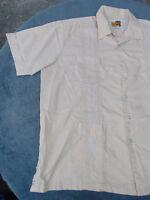 GUAYABERA SHIRT MENS XL Cuban Wedding Front Pockets Amazing Off White
