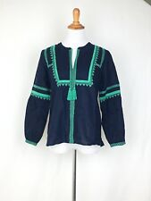 J. Crew G5461 $88 Vintage Inspired Embroidered Linen Cotton Top Tassel Tie 4