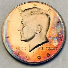 1998-S KENNEDY HALF DOLLAR PROOF UNC FLAWLESS COLOR NEON MAGENTA TONED BU (DR)
