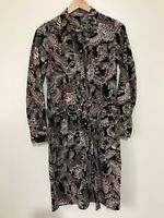 Laura Ashley Paisley Floral Pin Corduroy Shirt Dress Pleated Front Belted UK 8