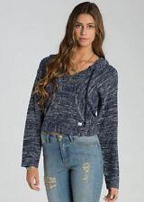 2015 NWT WOMENS BILLABONG CROPPED BAJA PONCHO SWEATER $60 M midnight hooded logo