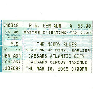 THE MOODY BLUES Concert Ticket Stub ATLANTIC CITY 3/18/99 CAESARS CIRCUS MAXIMUS