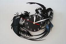 Rooster Design vinyl record wall clock [ black matt sticker ] home art office